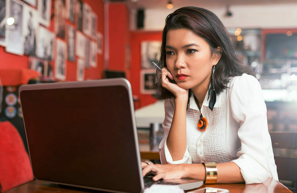 Professional woman searching for lenders for small business loans